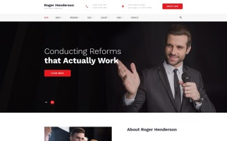 Roger Henderson - Political Candidate Classic Multipage HTML Website Template