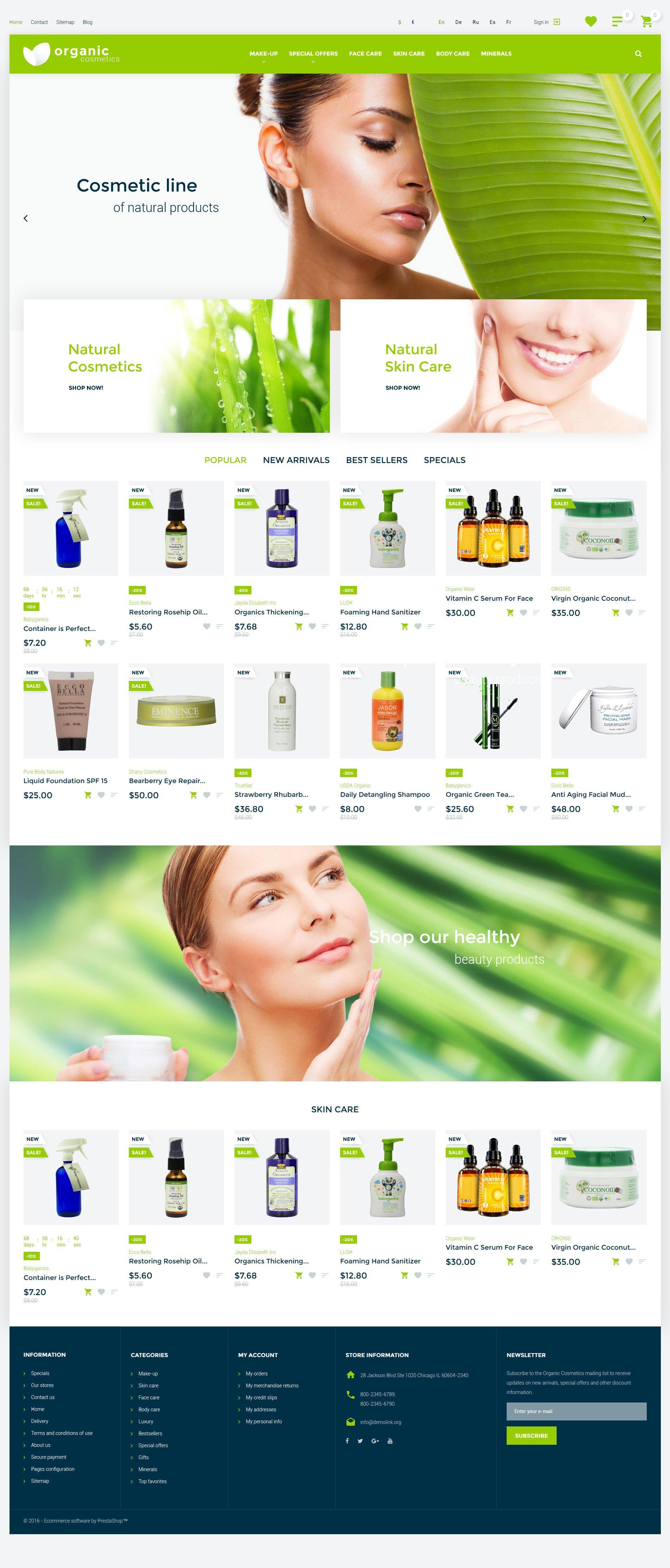 "Tema PrestaShop Responsive #57540 ""Cosmetici Biologici - Responsive"""