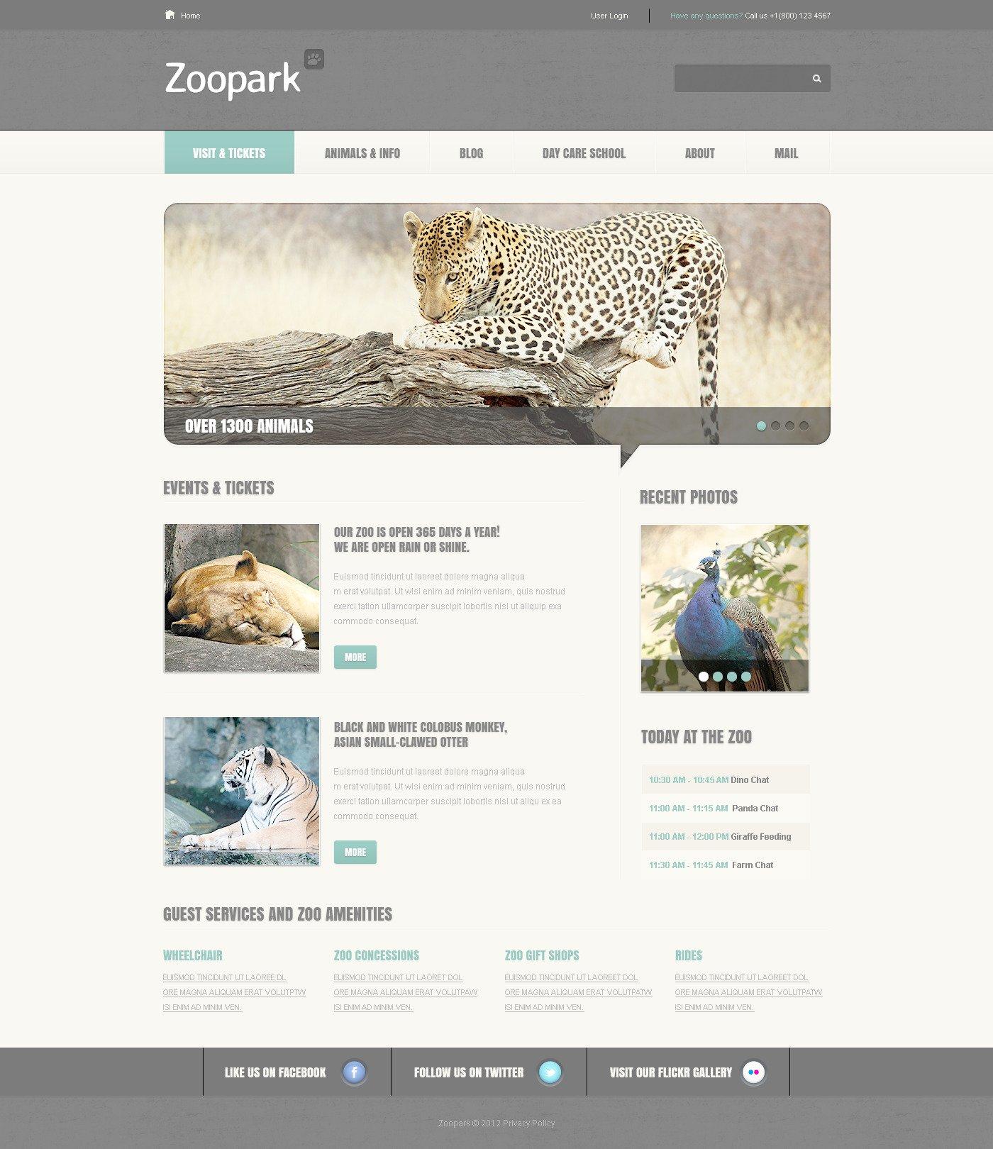 Template PSD #57511 per Un Sito di Zoo