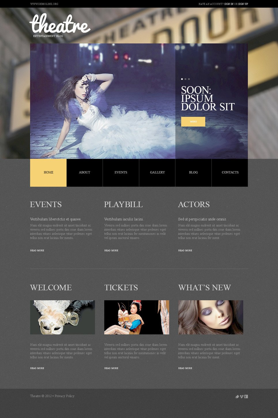 Theater PSD Template New Screenshots BIG