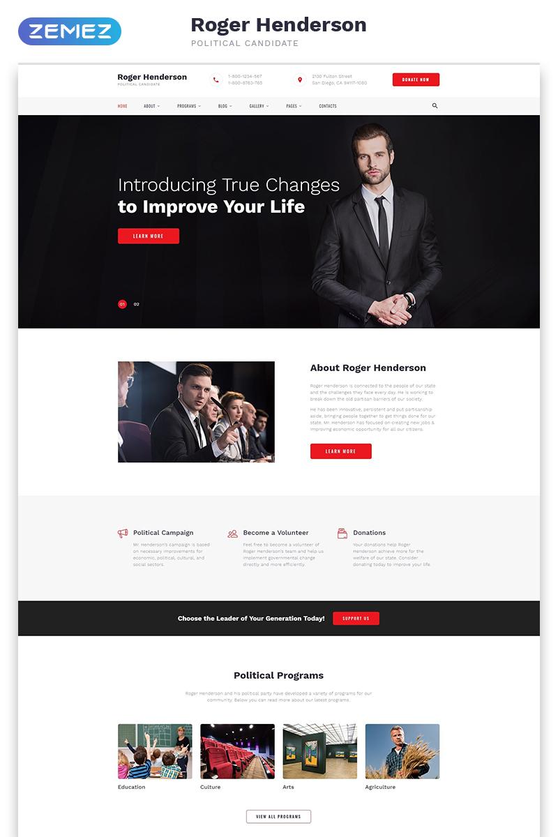 "Website Vorlage namens ""Roger Henderson - Political Candidate Classic Multipage HTML"" #57552"