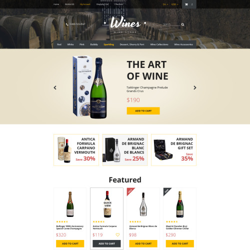 Wines - OpenCart Template based on Bootstrap