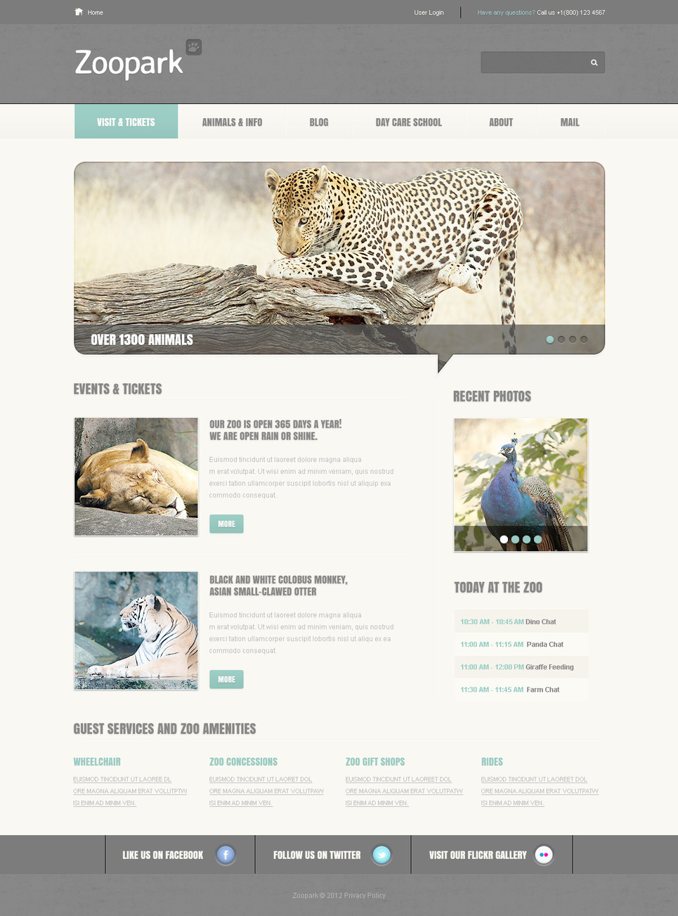 Zoo PSD Template New Screenshots BIG