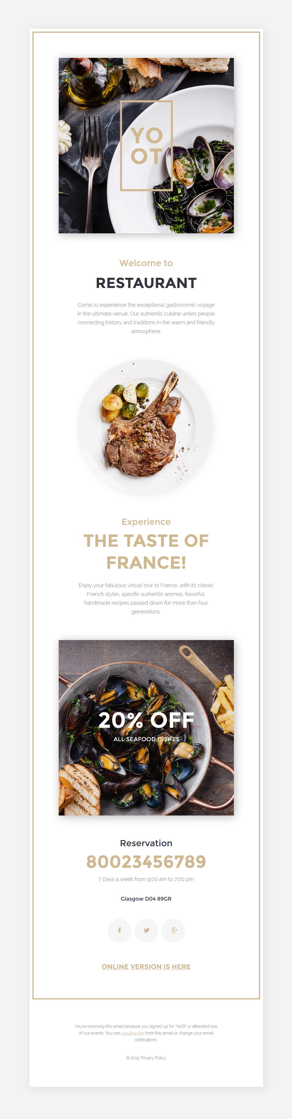 Адаптивный Шаблон рассылки №57614 на тему кафе и ресторан - скриншот