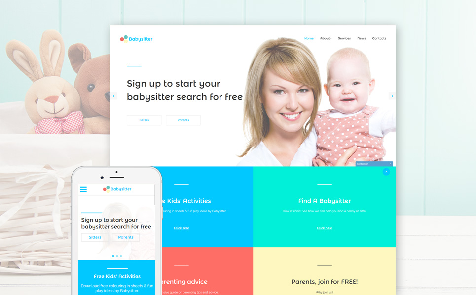 Babysitter Responsive Website Template #57648