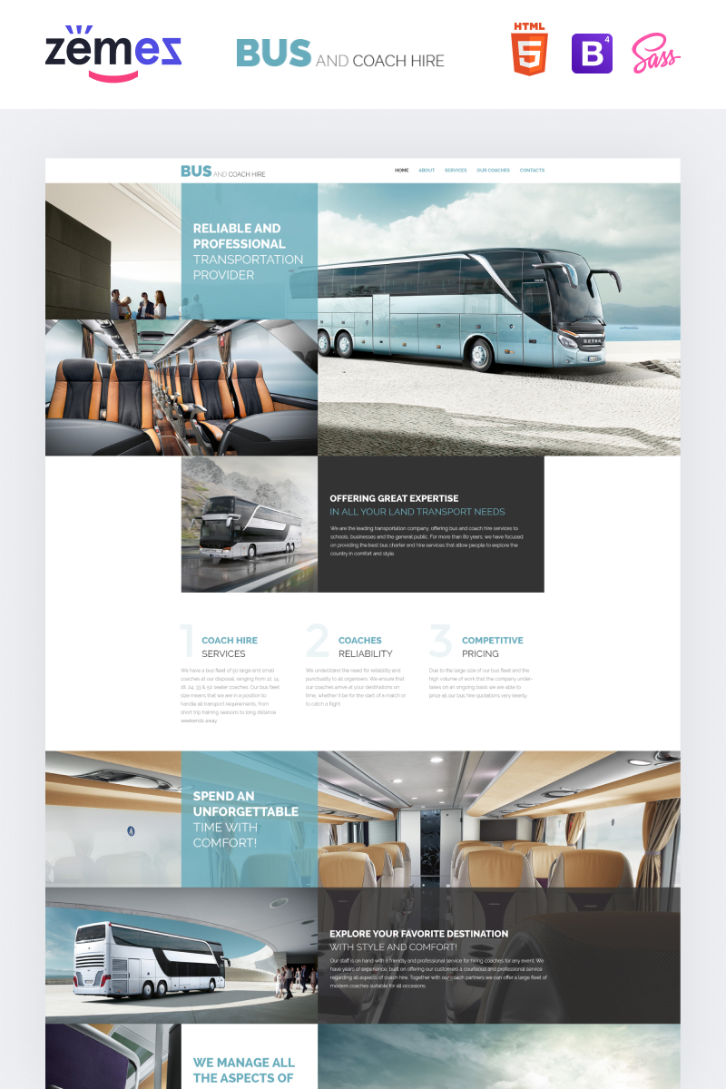 """Bus and Coach Hire"" Responsive Website template №57680"