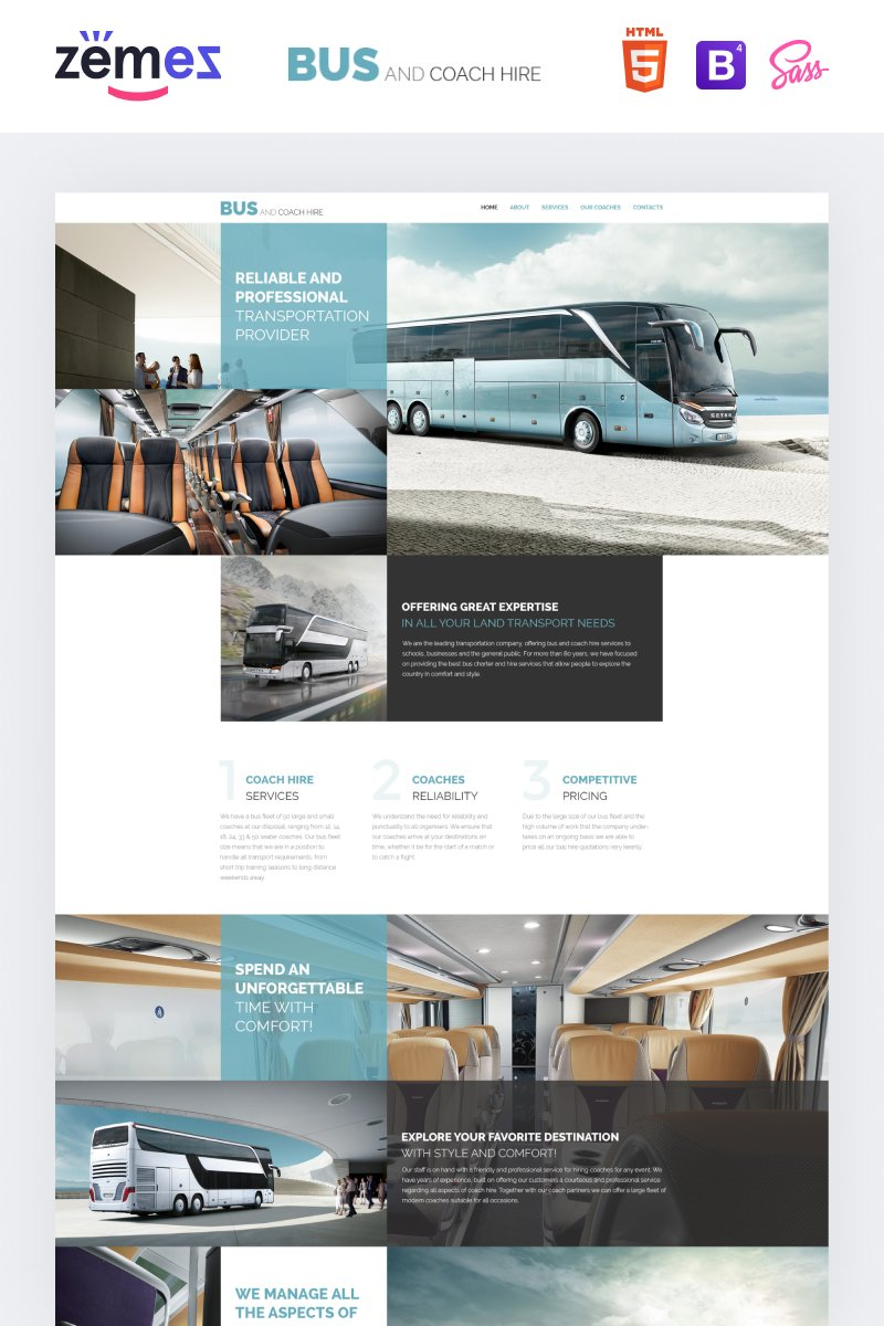 Bus and Coach Hire Template Web №57680