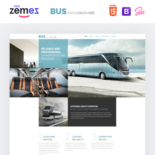Bus and Coach Hire - Responsive Website Template