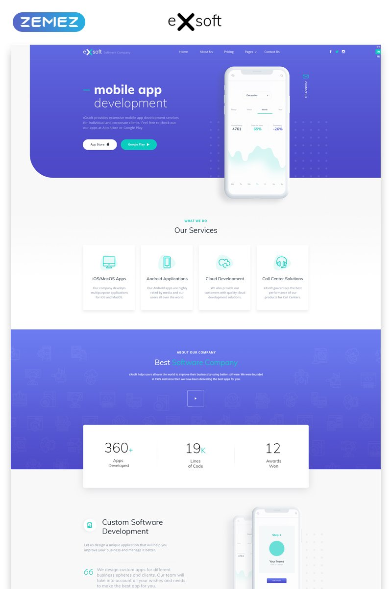 eXsoft - Futuristic Application Studio Multipage HTML Template Web №57621