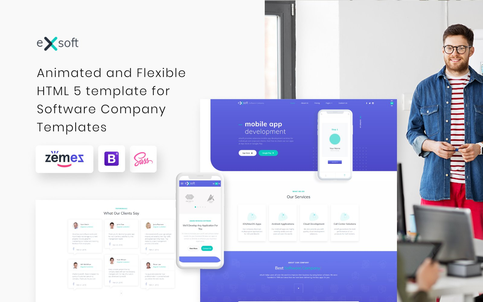 eXsoft - Software Company Responsive Website Template
