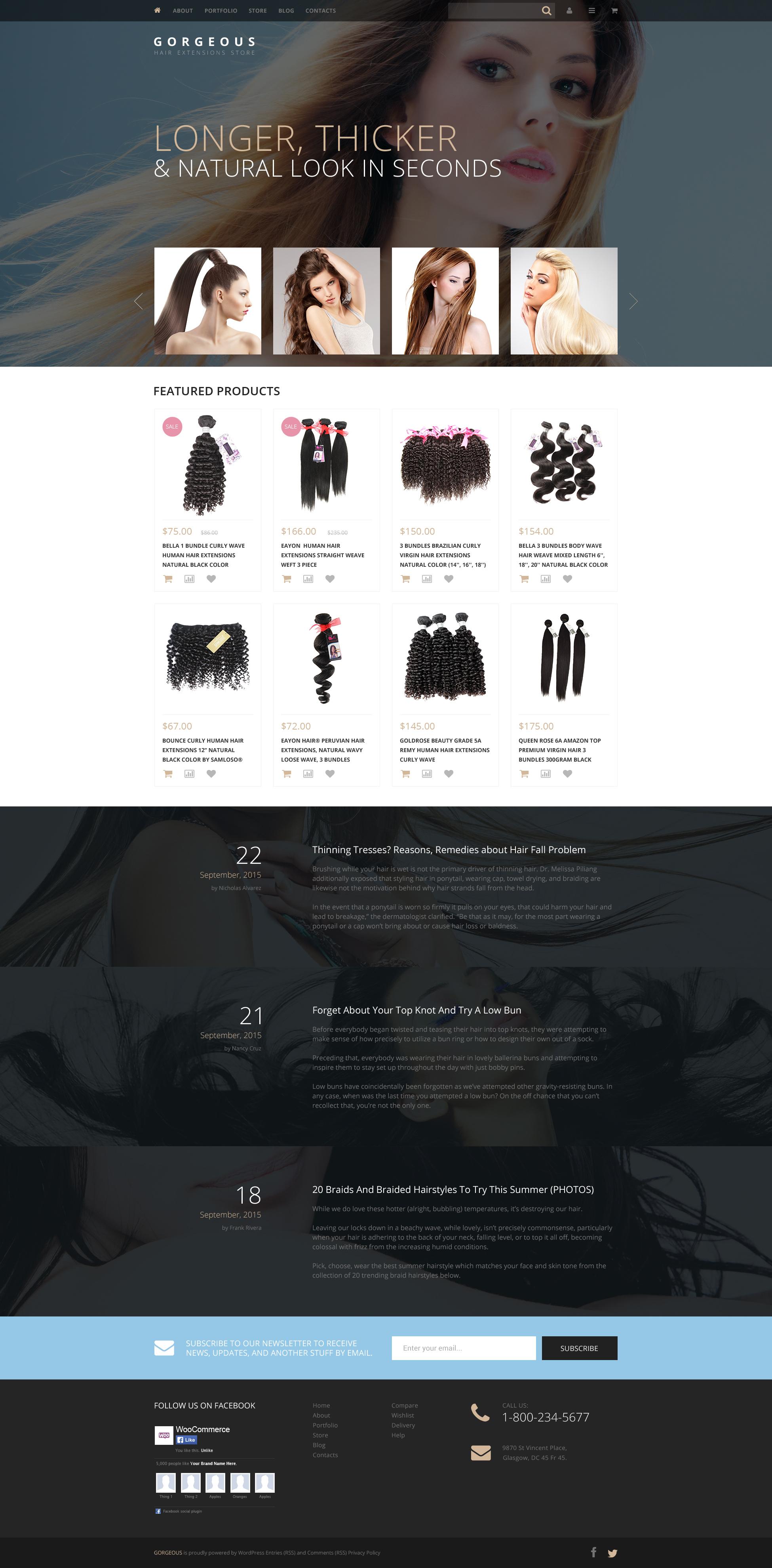 """Hair Extensions"" - адаптивний WooCommerce шаблон №57693 - скріншот"