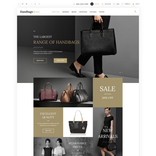 Handbags Store - OpenCart Template based on Bootstrap