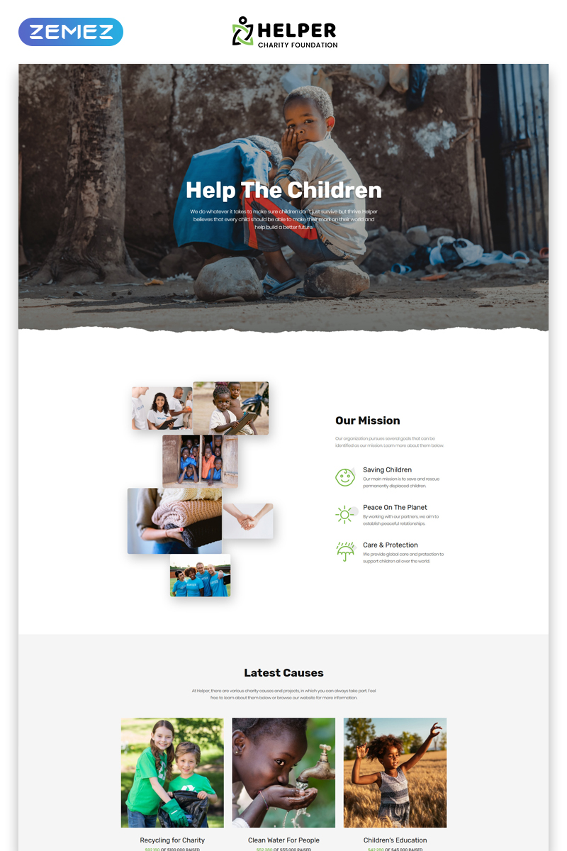 Helper - Charity Foundation Multipage Classic HTML5 Bootstrap Website Template