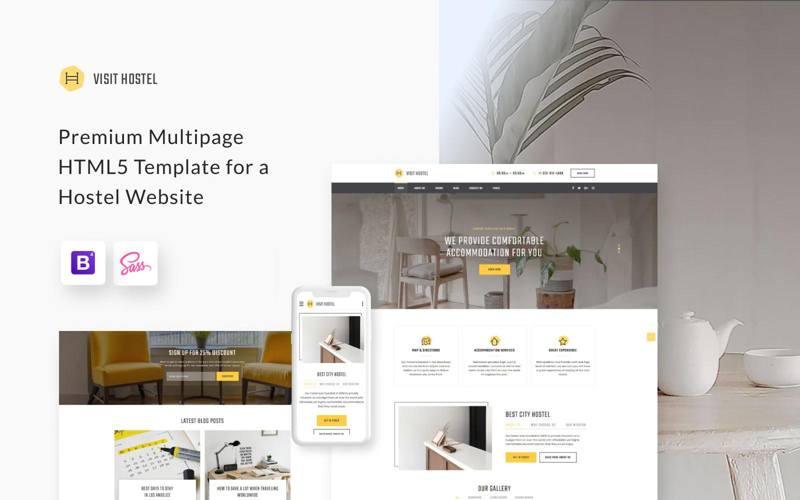 """Hostel - Travel Multipage HTML5"" - адаптивний Шаблон сайту №57677"