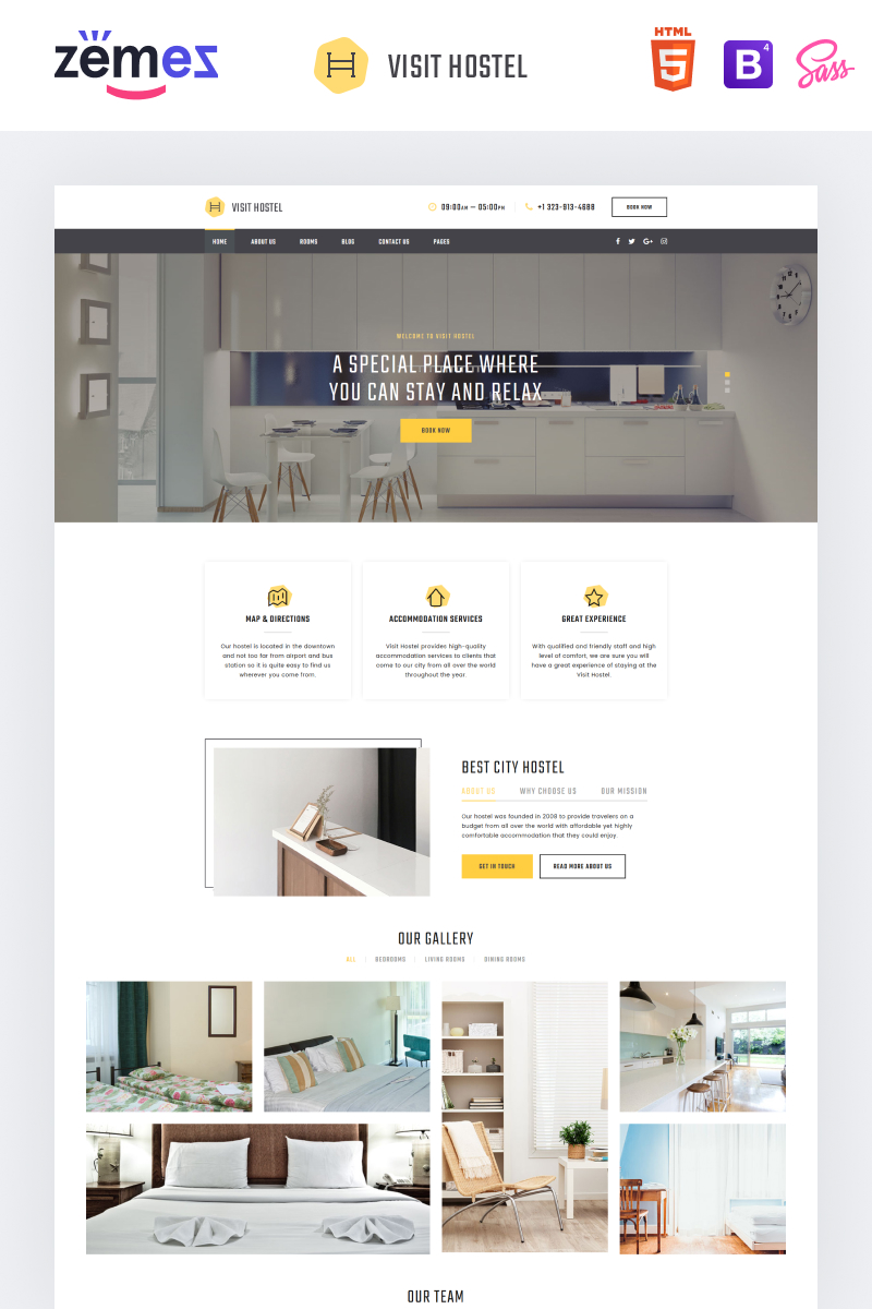 """Hostel - Travel Multipage HTML5"" 响应式网页模板 #57677"