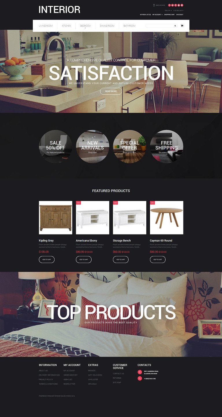 Interior Design Responsive OpenCart Template New Screenshots BIG