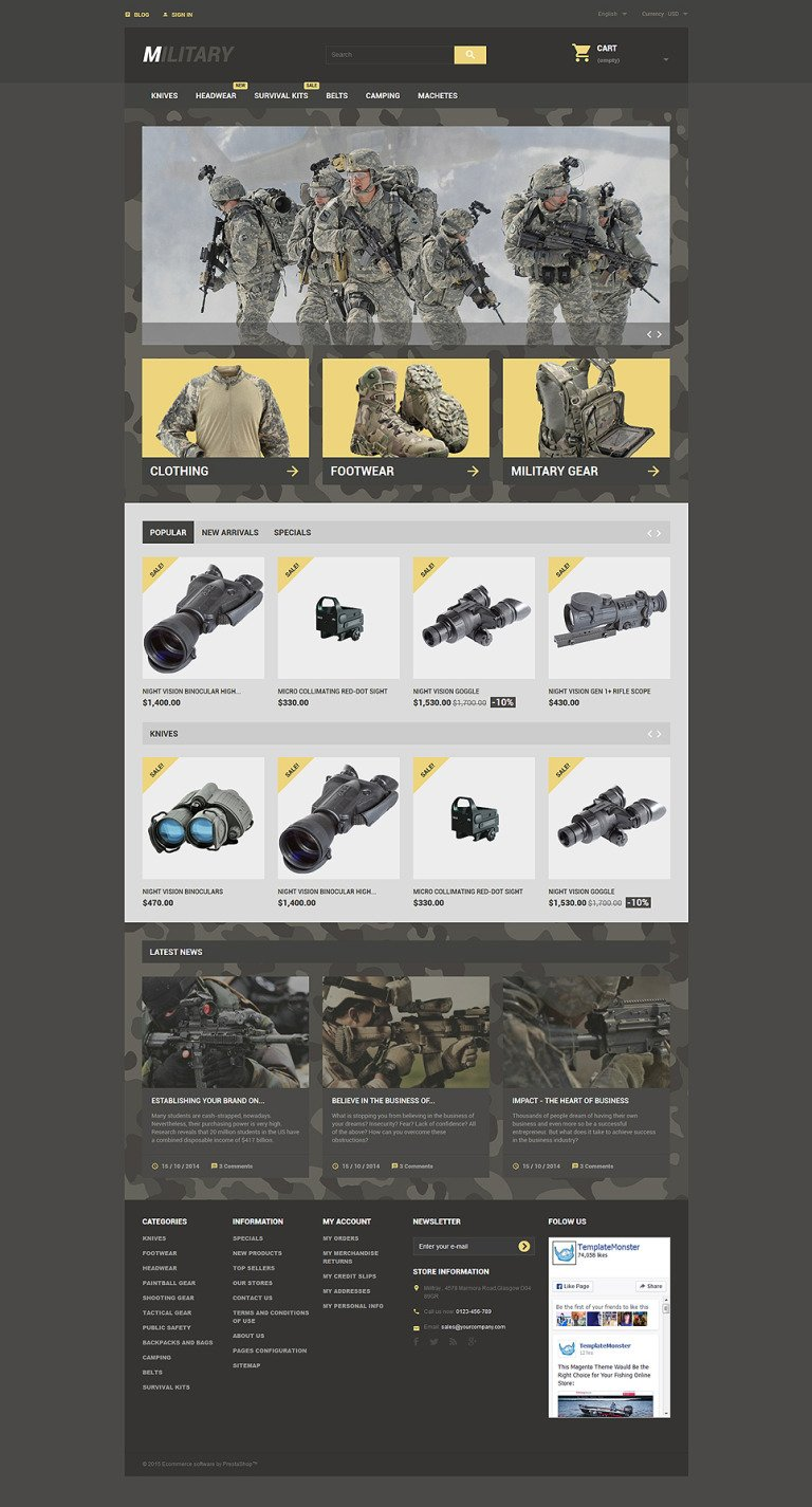 Military PrestaShop Theme New Screenshots BIG