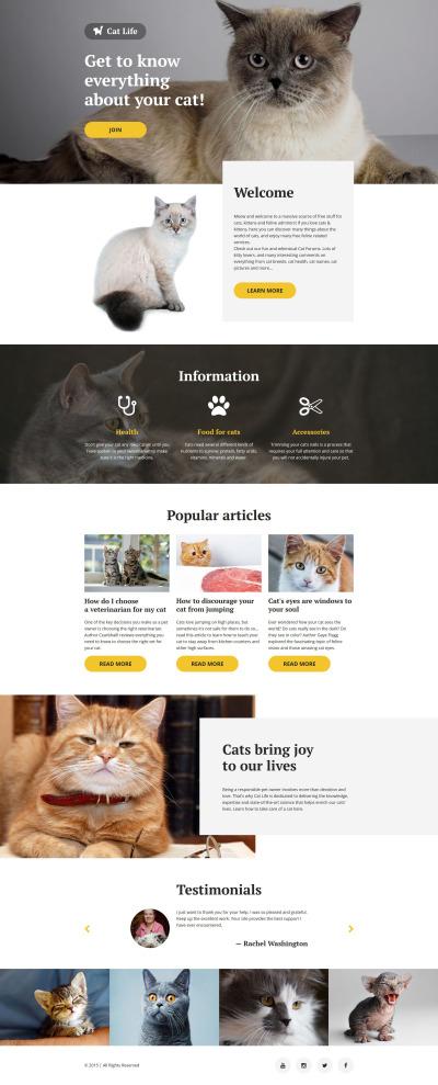 Modèle  De Page D'atterrissage adaptatif  pour sites de chats