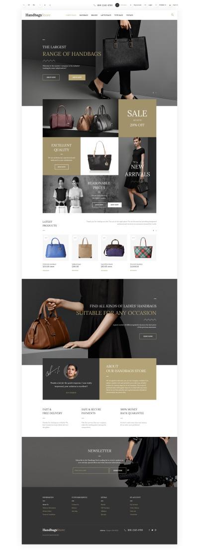 Адаптивный OpenCart шаблон №57682 на тему магазин сумок