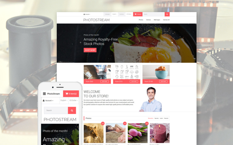 Photostream OpenCart Template New Screenshots BIG