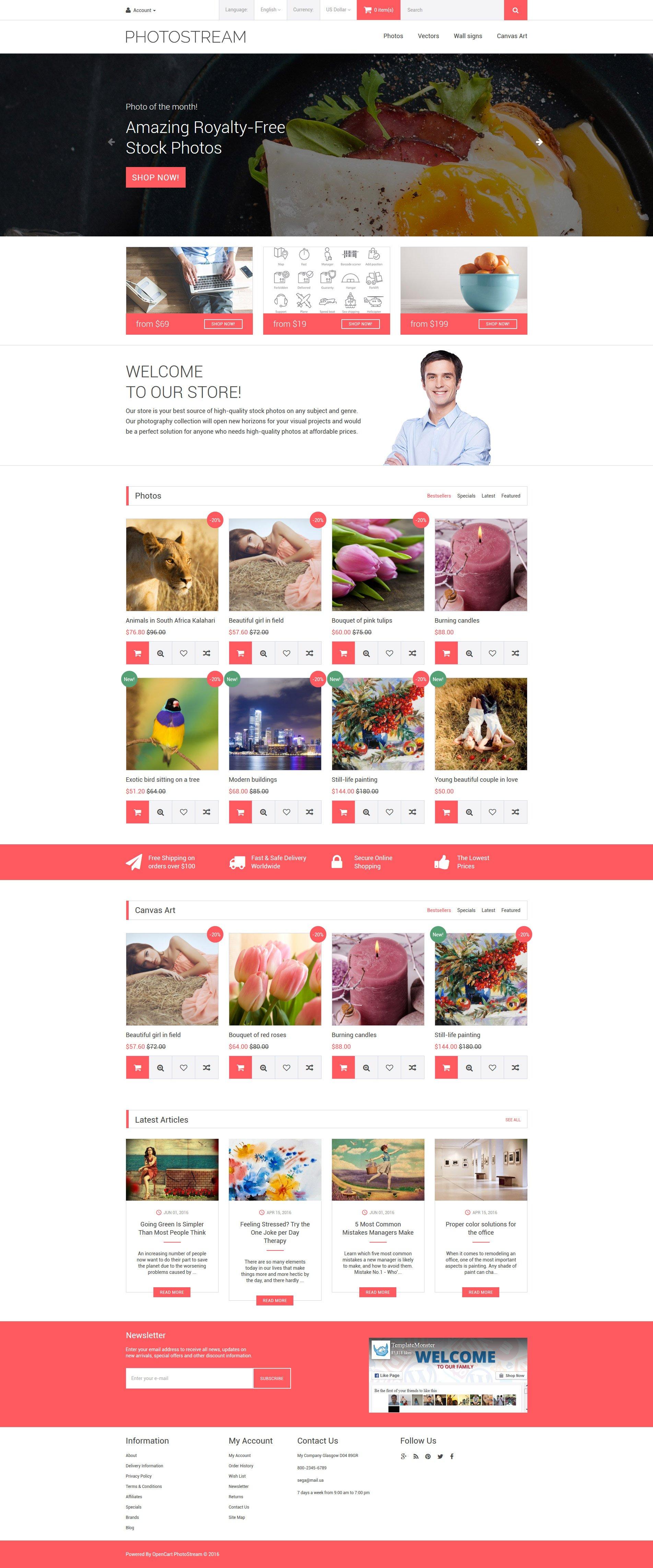 Photostream OpenCart Template