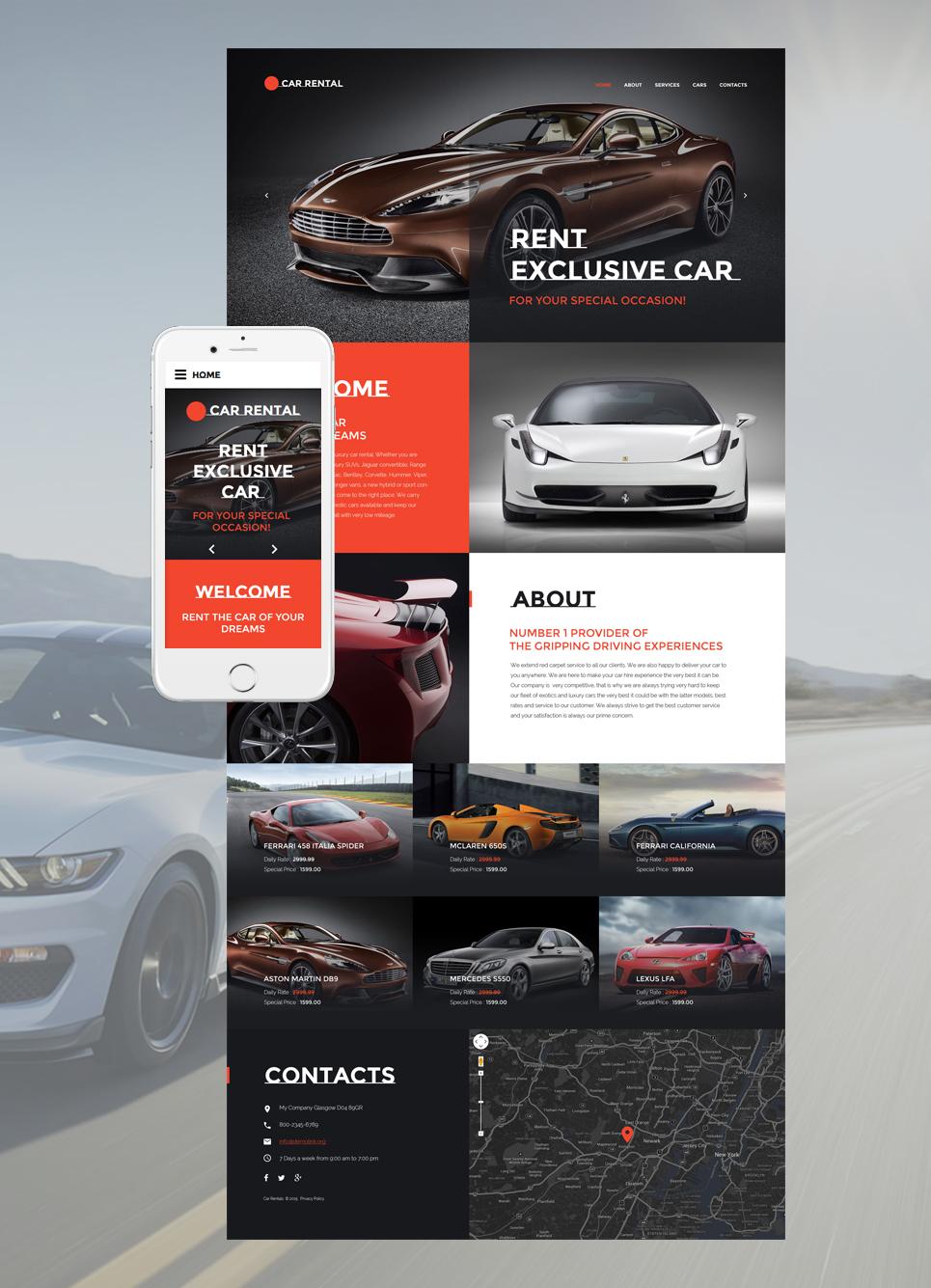 Plantilla Web #57633 para Sitio de Alquiler de coches