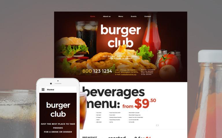 Plantilla Web #57620 para Sitio de Restaurantes de comida rápida
