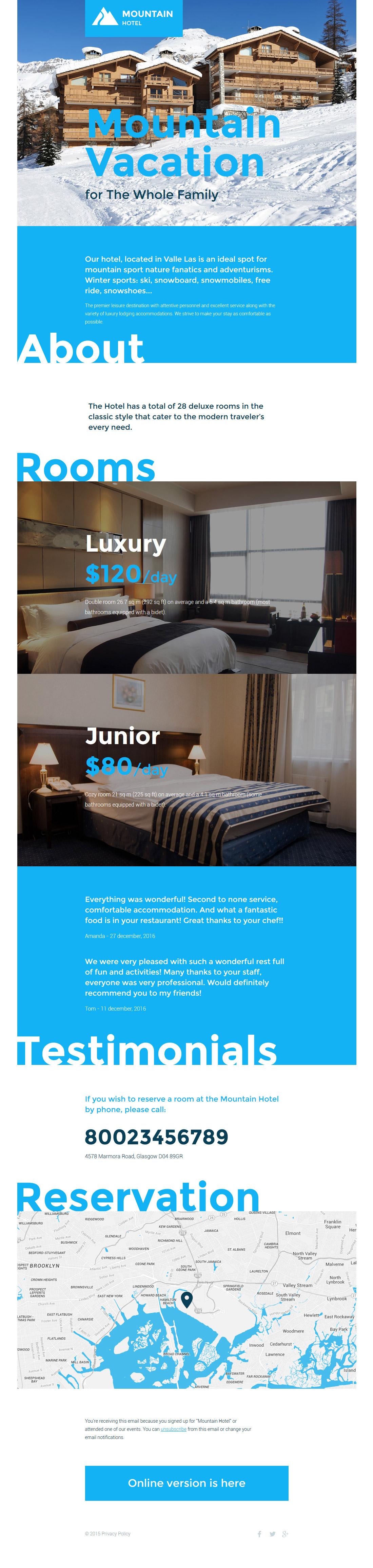 Responsive Newsletter Vorlage für Hotels #57616