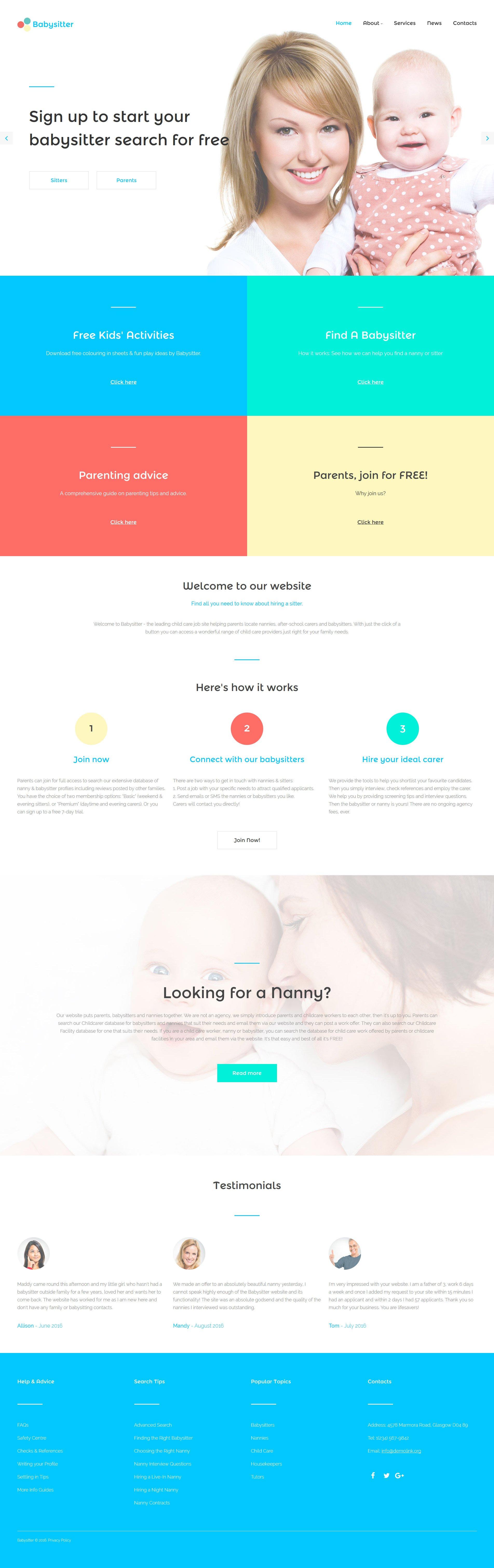 Responsive Website template over Kinderoppas №57648