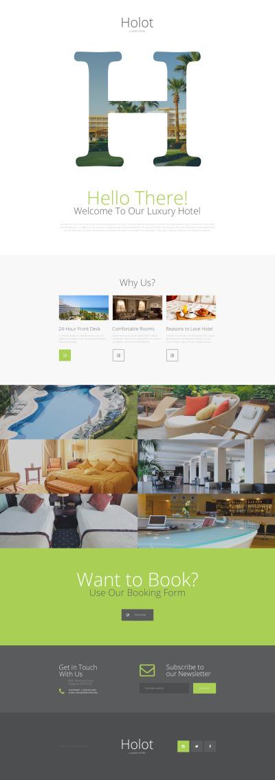 Responsives Landing Page Template für Hotels