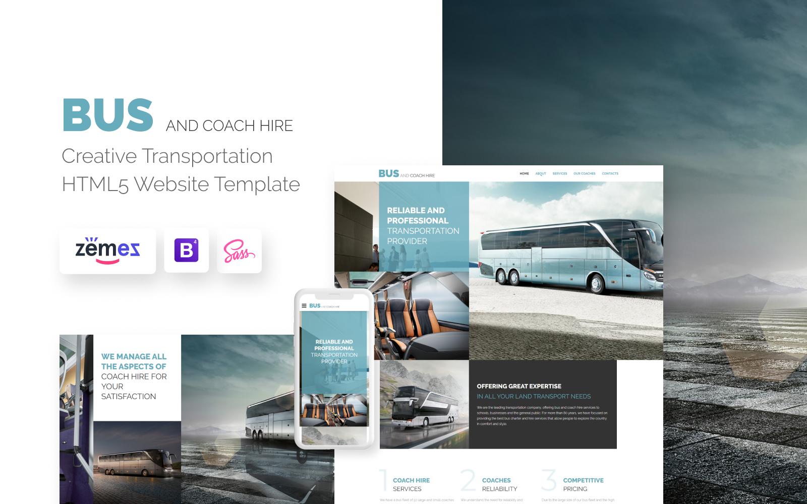 Responsivt Bus and Coach Hire Website Template Hemsidemall #57680