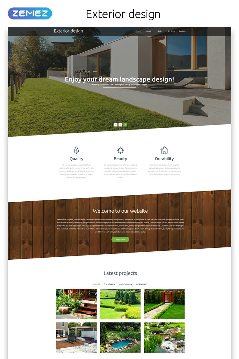 Responsivt Exterior Design - Landscape Responsive Modern HTML Hemsidemall #57651
