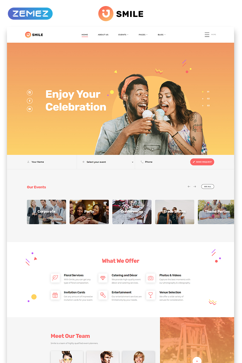 Responsivt Smile - Event Planner Clean Multipage HTML5 Hemsidemall #57675
