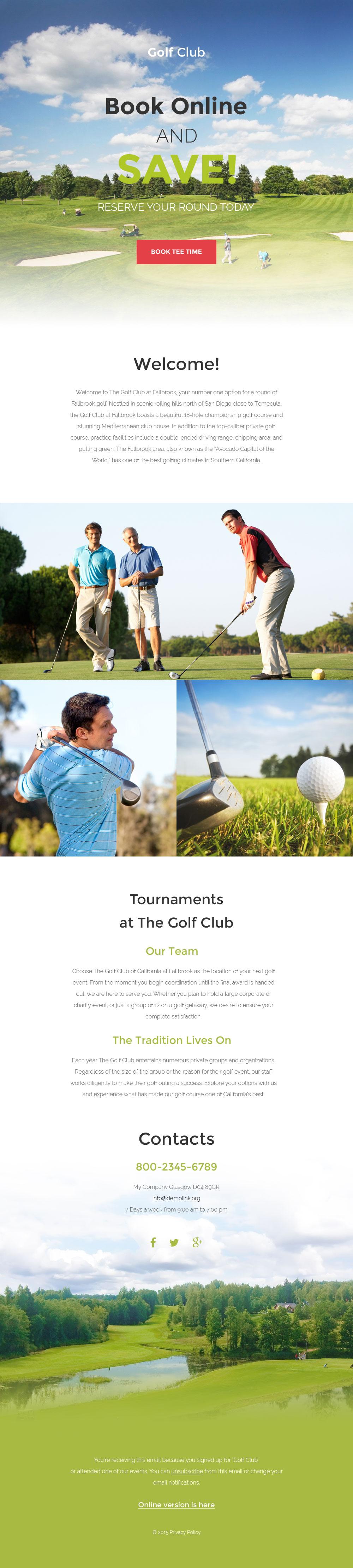 Responzivní Newsletter šablona na téma Golf #57642