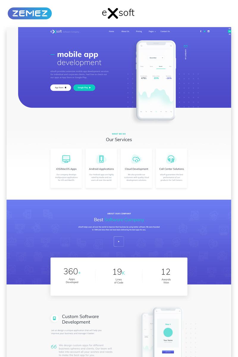 """Responzivní Šablona webových stránek """"eXsoft - Futuristic Application Studio Multipage HTML"""" #57621"""