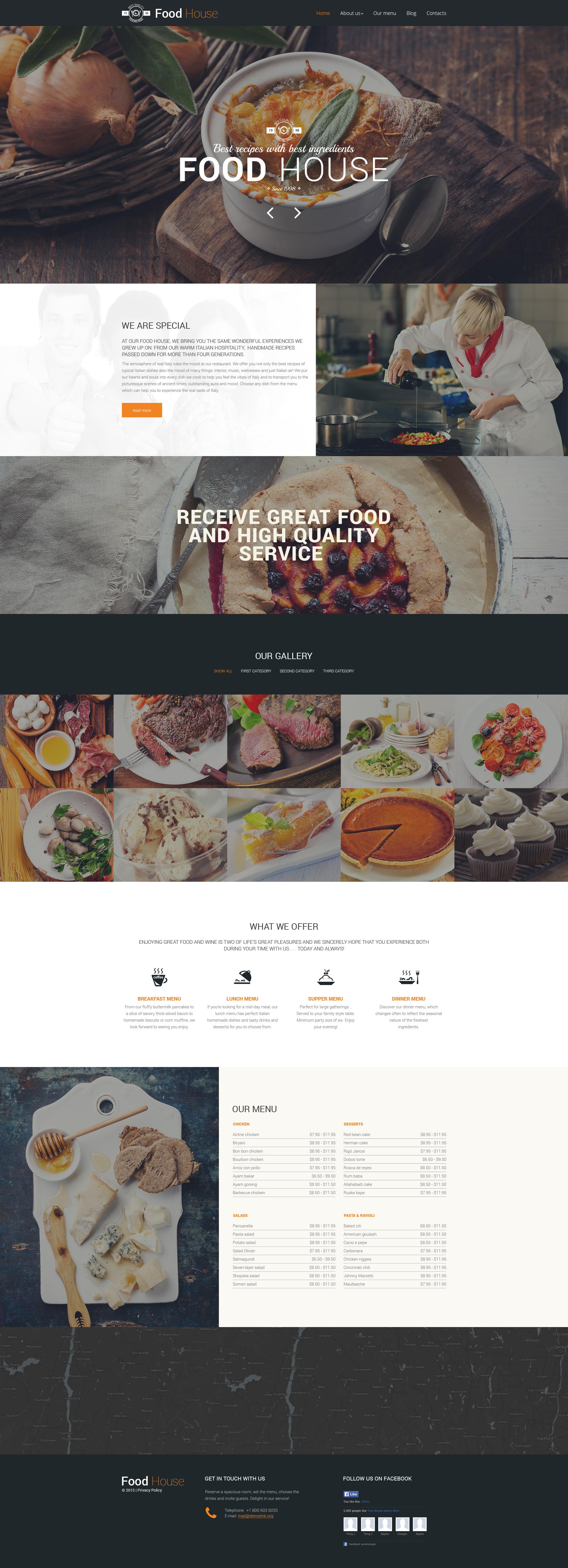 Reszponzív Food House Drupal sablon 57611