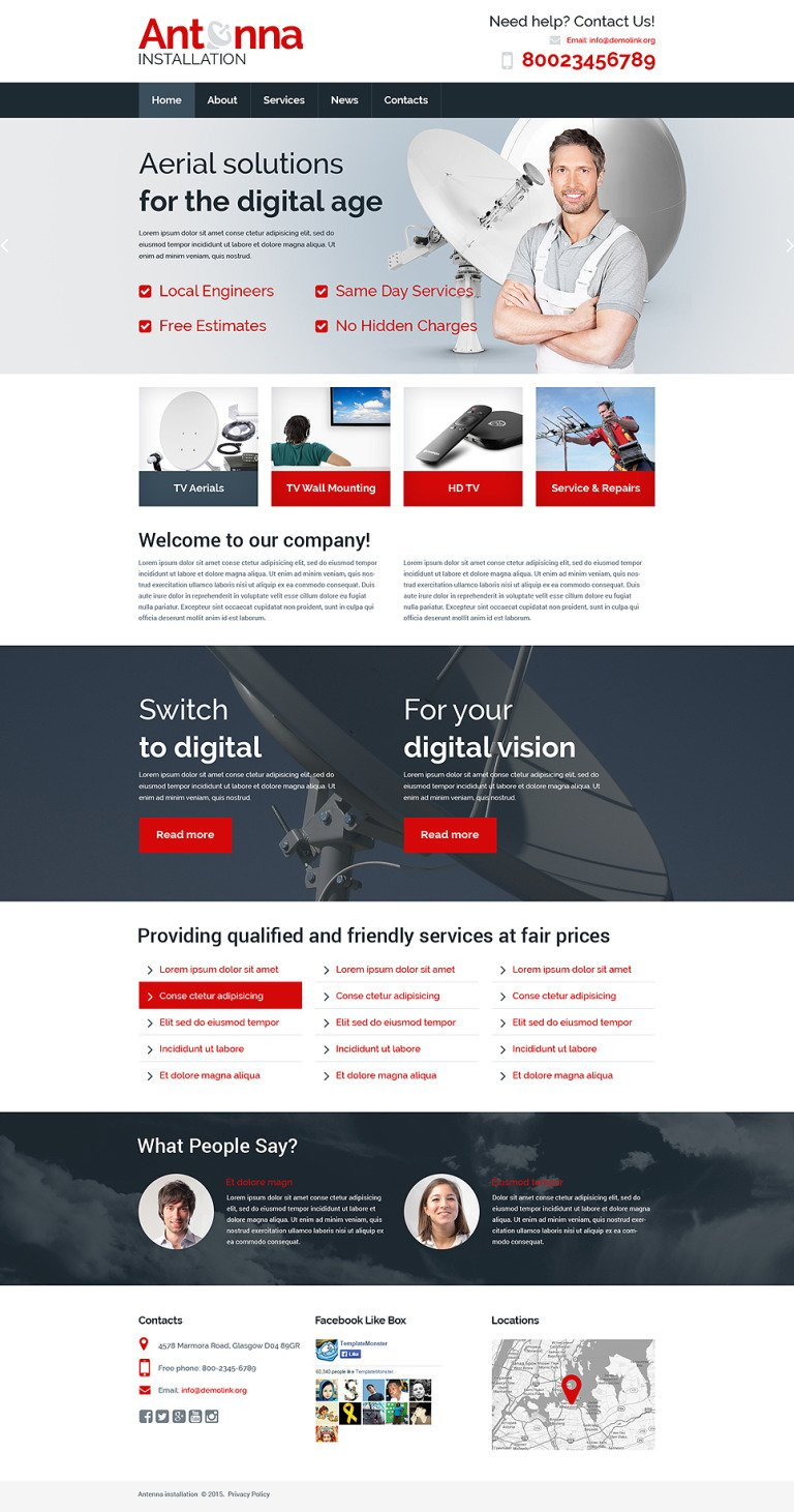Satellite TV Responsive Website Template New Screenshots BIG