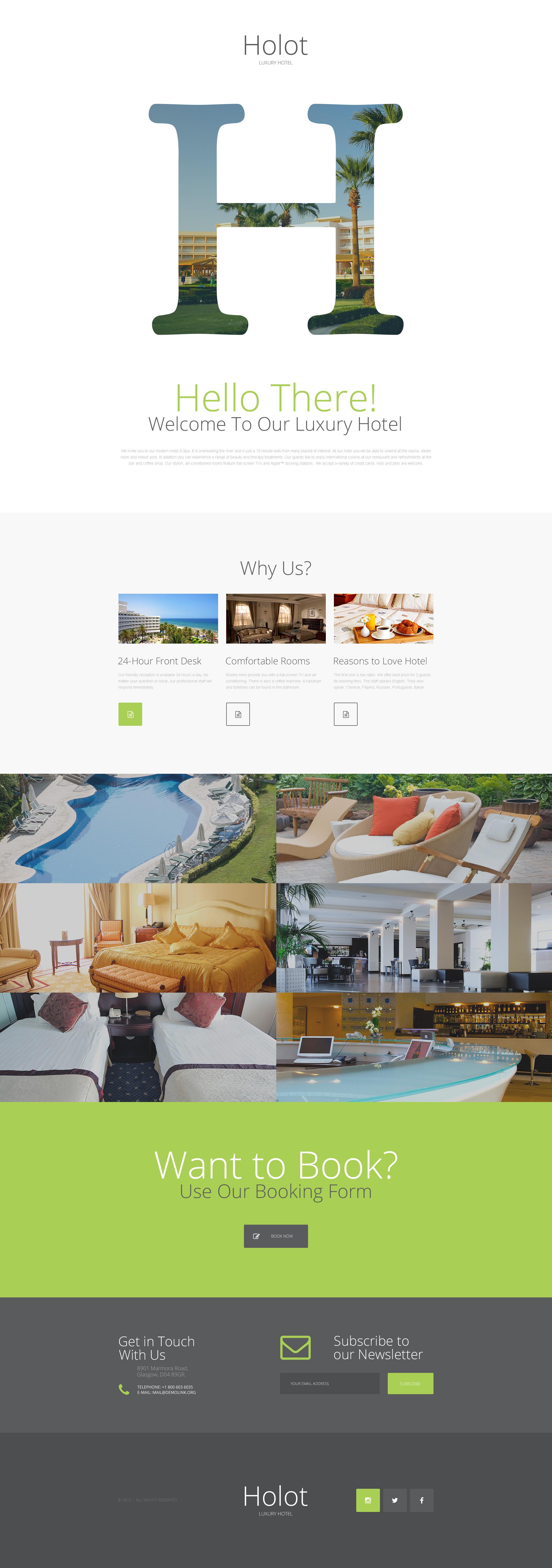 Tema di Landing Page Responsive #57630 per Un Sito di Hotel - screenshot