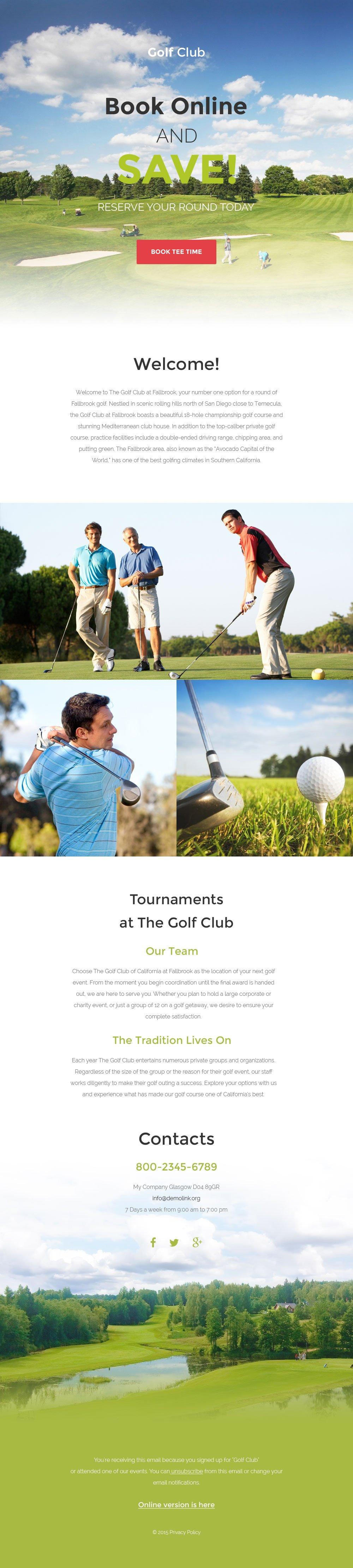 Tema di Newsletter Responsive #57642 per Un Sito di Golf