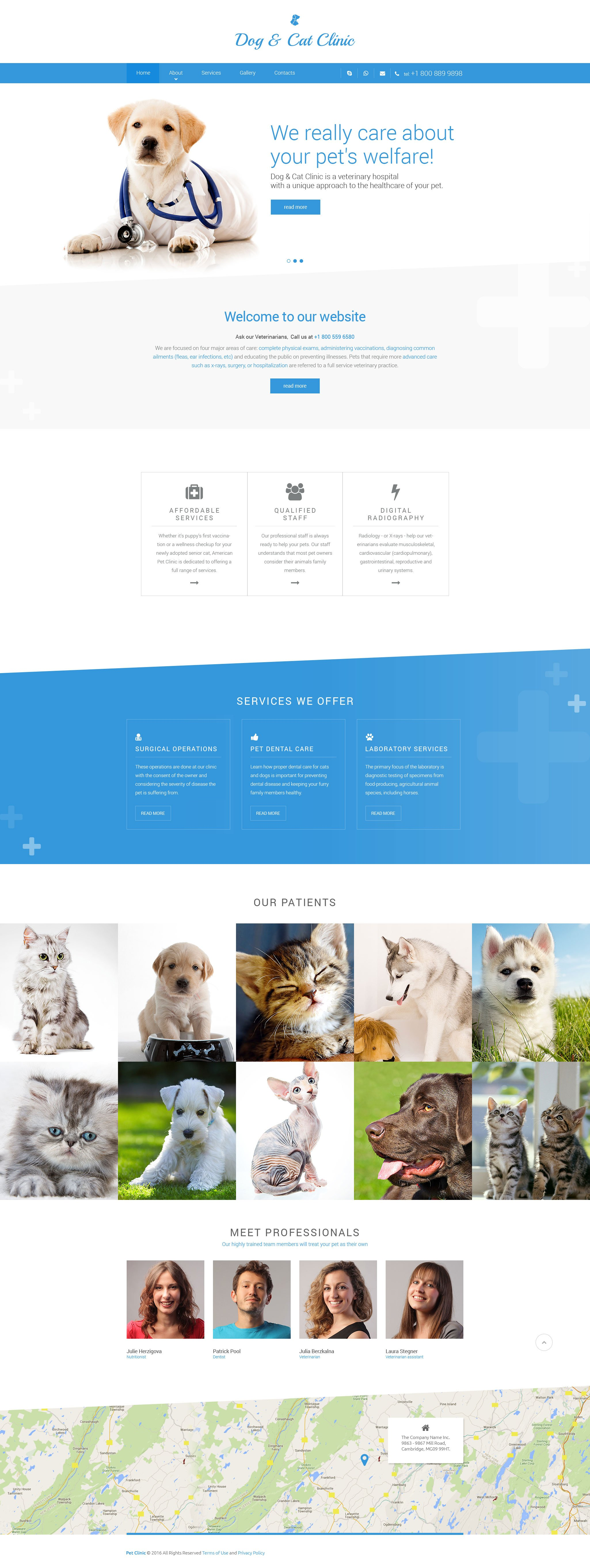 "Tema Siti Web Responsive #57690 ""Dog  Cat Clinic"""
