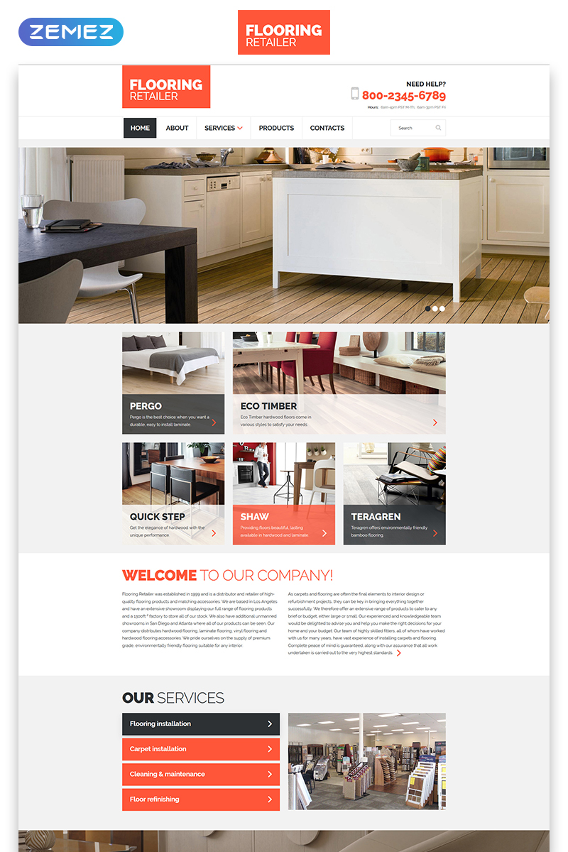 "Template Siti Web Responsive #57649 ""Flooring - Furniture Responsive Clean HTML"""