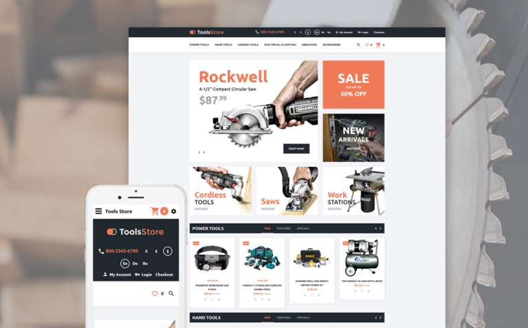 Tools Store OpenCart Template New Screenshots BIG