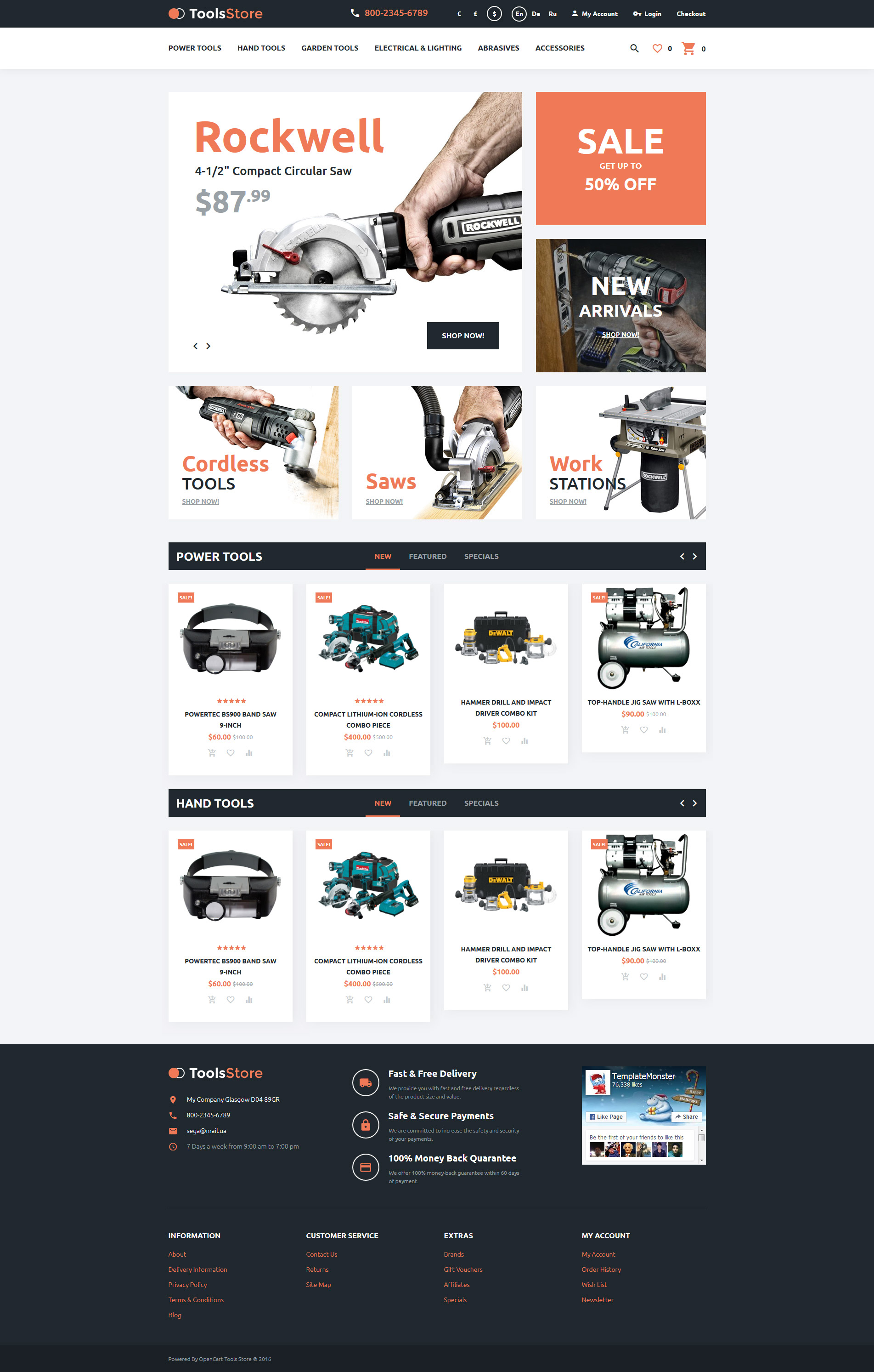 Tool store opencart template for Opencart bookstore template