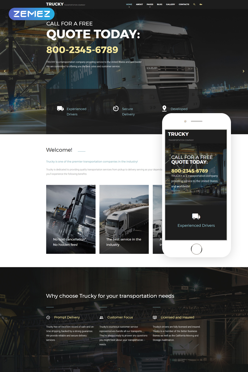 Trucky - Transportation Company Joomla Template - screenshot