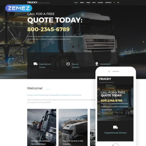 Trucky Transportation Company - Joomla! Template based on Bootstrap