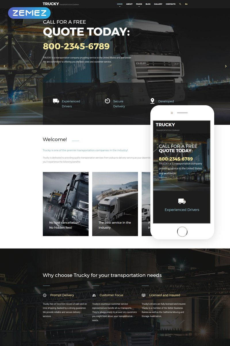 Trucky - Transportation Company Template Joomla №57653 - captura de tela