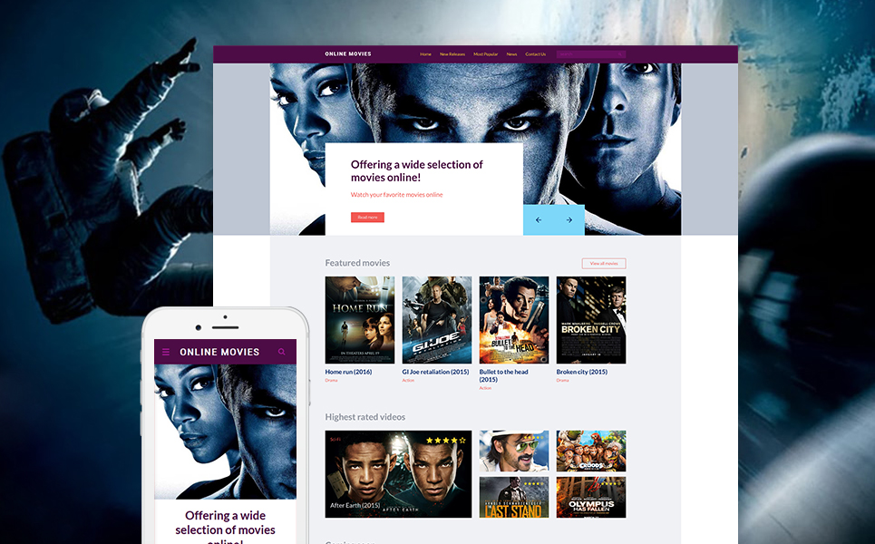 Online Movies template illustration image