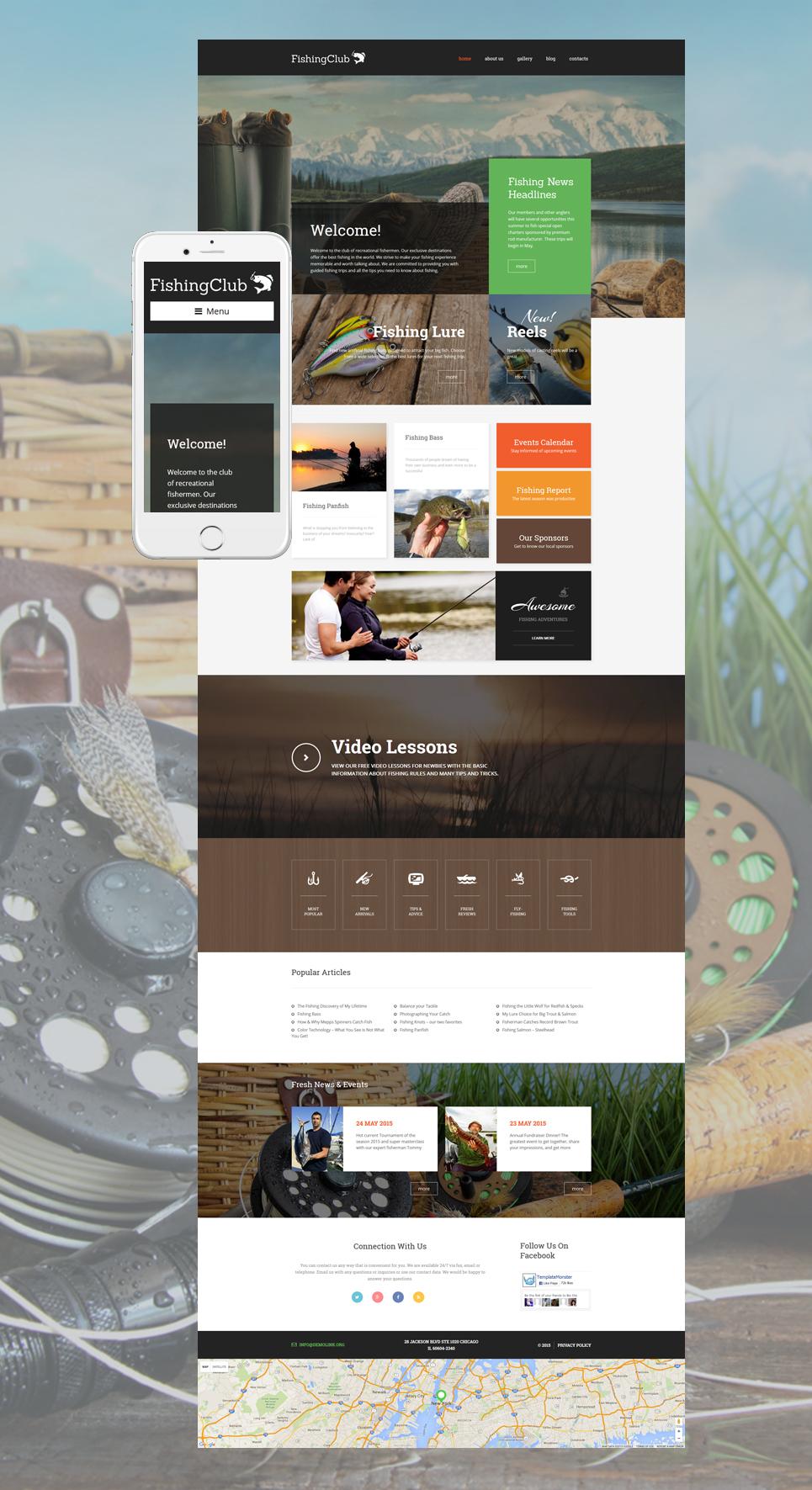 Адаптивный шаблон сайта на тему рыбалка #57738