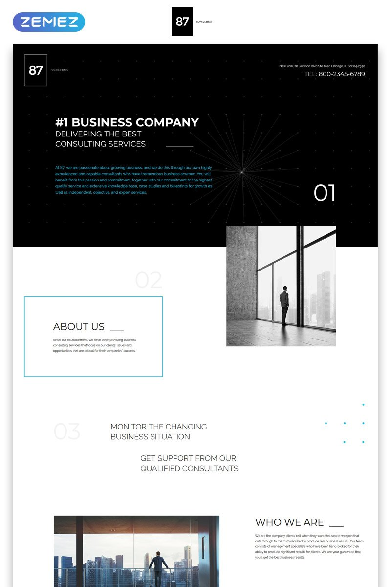 """87 - Business & Corporate Creative HTML"" 响应式着陆页模板 #57785"