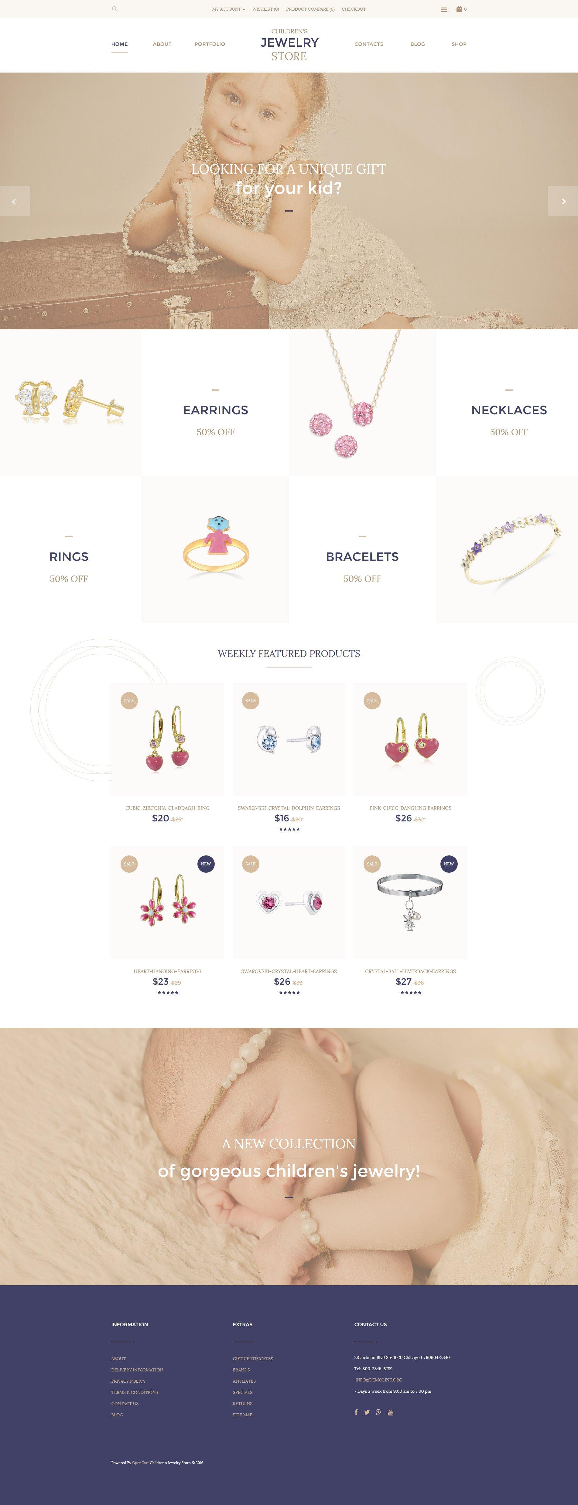 """""""Children's Jewelry Store"""" - адаптивний OpenCart шаблон №57739"""